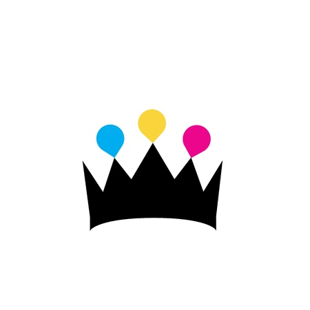 Crown with colorful droplets logo concept Illustration