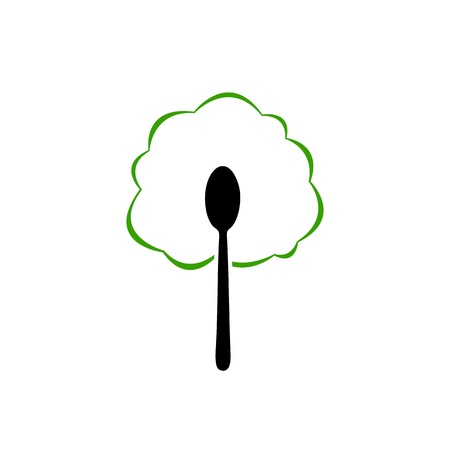Organic food spoon icon Vector