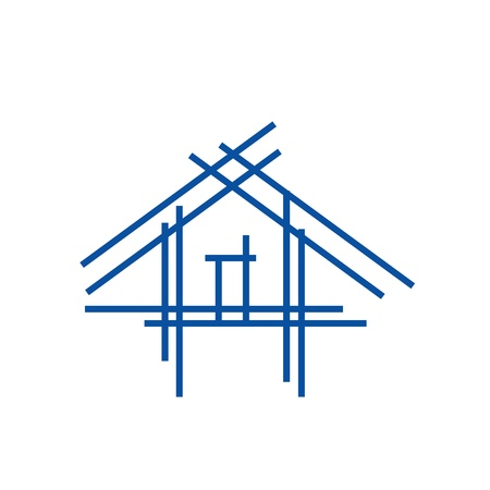 blue roof: Real estate stick house icon