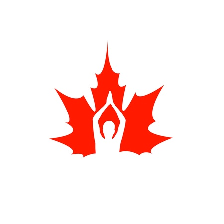 Man performing Yoga icon on maple leaf Stock Vector - 19338325