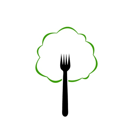Tree and fork- organic food concept Stock Vector - 19332275