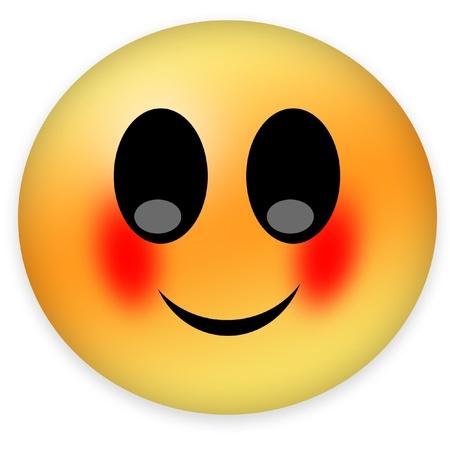 顔を赤らめスマイリー 写真素材