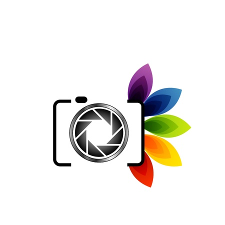 hotshot: A digital camera with colorful leaves Illustration