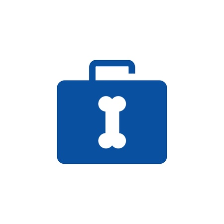 Pet safety icon- briefcase with puppy bone Vector