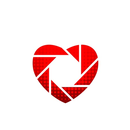 Photography icon shaped like heart Vectores