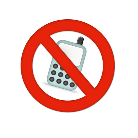 sign not to talk by phone: mobiles not allowed