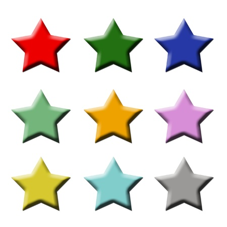 favorite colour: star icons buttons colourful Stock Photo