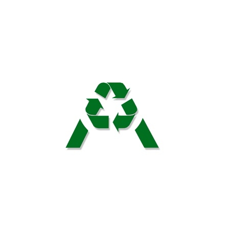 alphabet A with Recycle symbol Stock Photo - 19396529