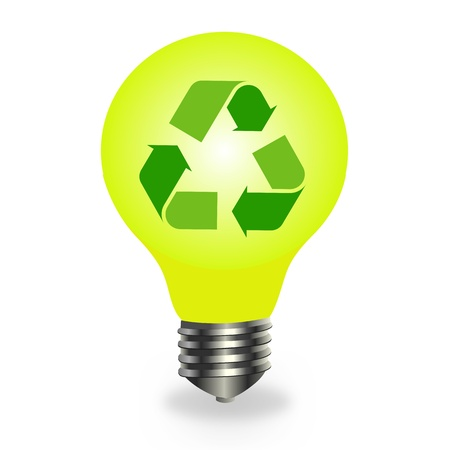 Recycle symbol in a bulb