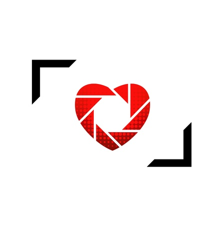 Photographic icon heart shaped Vector