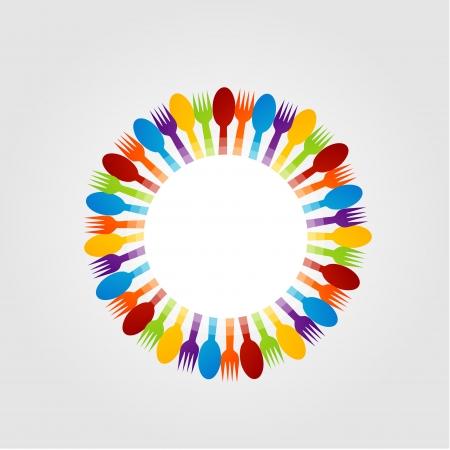 boutique hotel: Elemento de dise�o con cucharas de colores y cubiertos de mesa