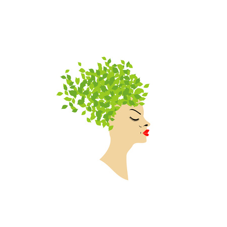 Lady with leafy hair Stock Vector - 22302125