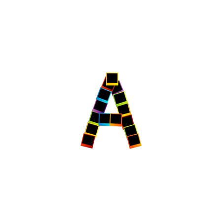Alphabet A with colorful photos