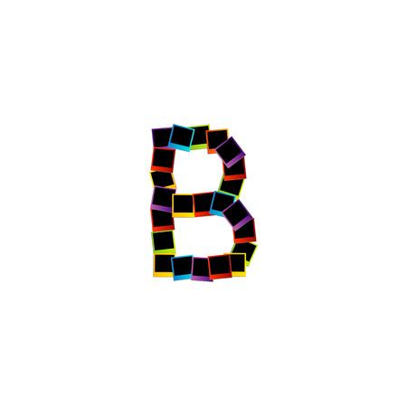 Alphabet B with colorful photos Vector