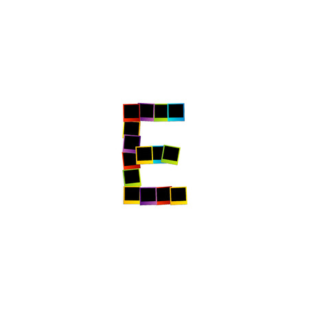 phonetic: Alphabet E with colorful photos