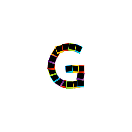 Alphabet G with colorful photos Vector