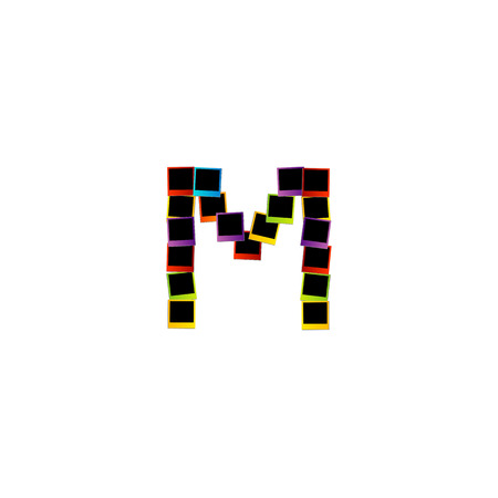Alphabet M with colorful photos