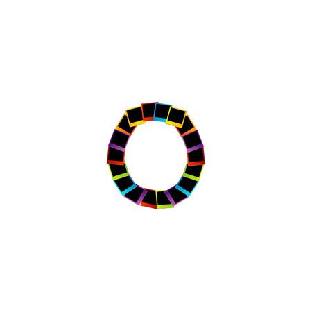 Alphabet O with colorful photos Vector