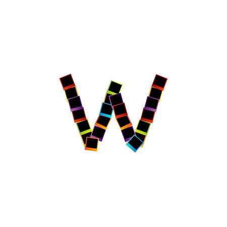 Alphabet W with colorful polaroids Vector