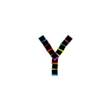 Alphabet Y with colorful polaroids Vector