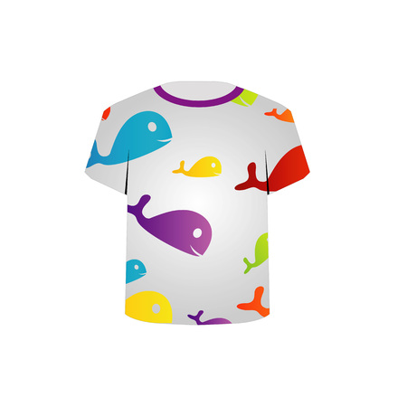 gray anemone: T Shirt Template- Printable childrens shirt- colorful fishes Illustration
