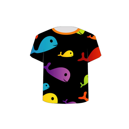 T Shirt Template- Printable childrens shirt- colorful fishes Stock Vector - 22719380