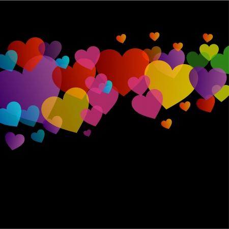 Background with colorful hearts Ilustração