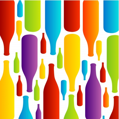Background with colorful bottles 矢量图像