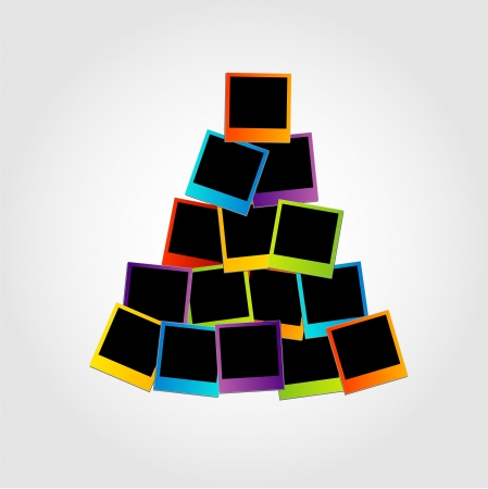 Christmas tree with colorful polaroids Stock Vector - 23378050