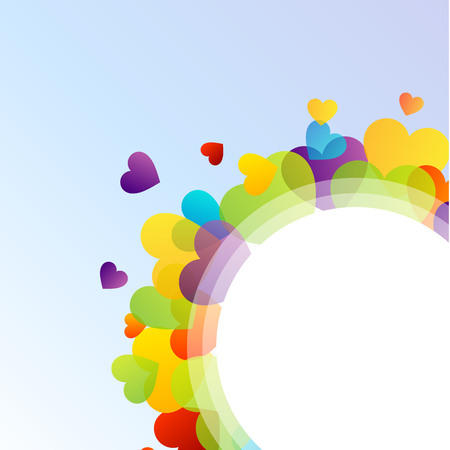 Design element with colorful hearts