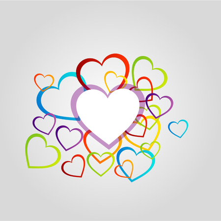Design element with composition of hearts Vector