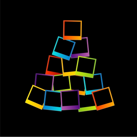 new years eve dinner:  Christmas tree with colorful frames