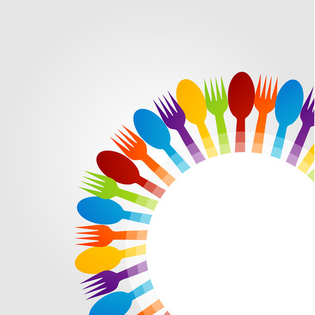 Design element using spoons and forks   Vector