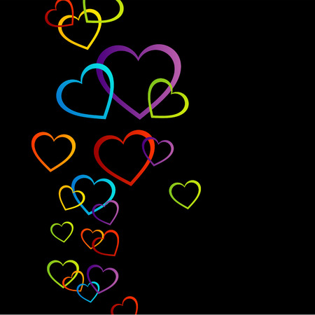 Background with colorful hearts Vector