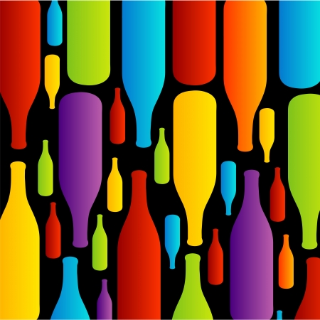 Background with colorful bottles Illustration