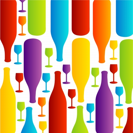 Background with colorful bottles and glasses Vector