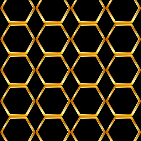 Golden honey cell background Ilustrace
