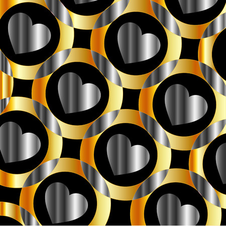 aurum: Background with metallic hearts and circles Illustration
