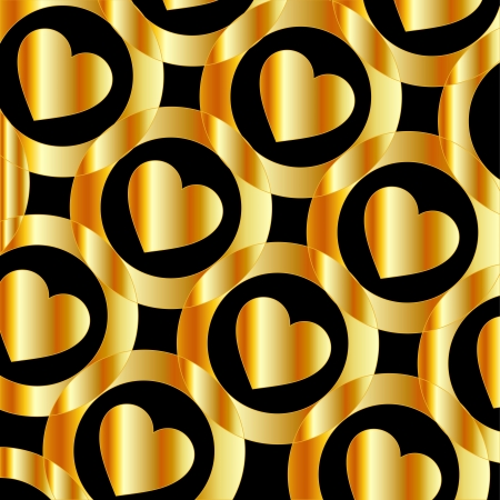 Background with golden hearts and circles Vector