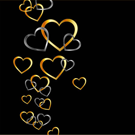Background with gold and silver hearts Vector