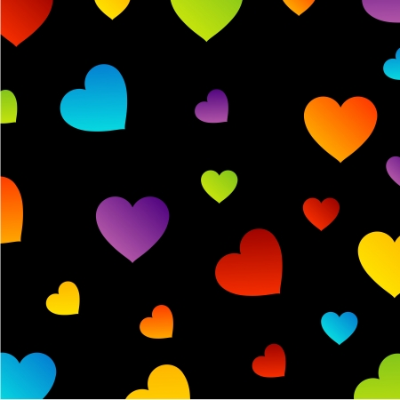 Background with colorful hearts Illustration