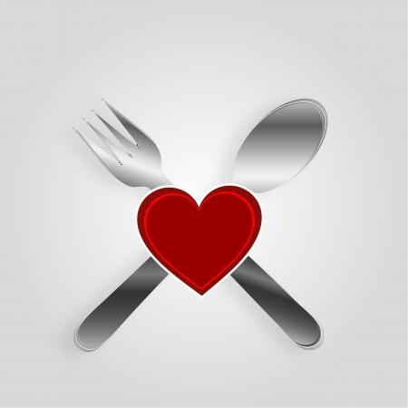 restaurateur: Restaurant menu design avec un coeur Illustration