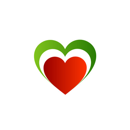 Italian heart- colors of the Italian flag  Illustration