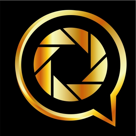 Golden Q shaped photography logo Vector