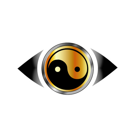 oversee: Vision eye with harmony symbol Illustration