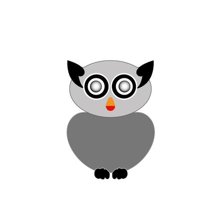 Grey owl- bird of prey Vector
