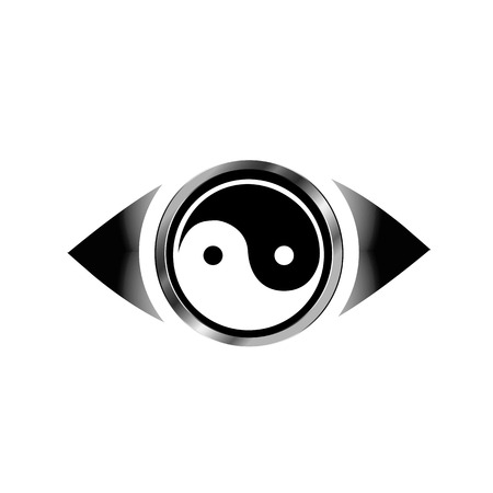 round eyes: Vision eye with yin yang harmony symbol Illustration