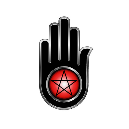 ahimsa: Hand with a Pentacle-Symbolizes both violence and non violence