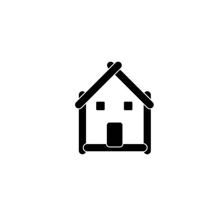 house logo: House with a roof- Logo for construction or home renovation Illustration
