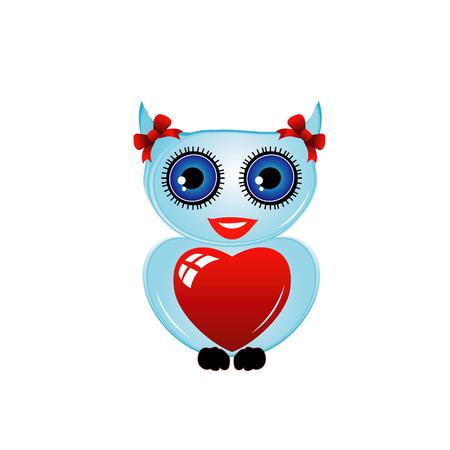 Pretty owl with a red heart Ilustração